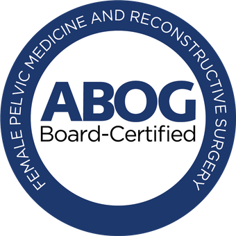 ABOG Board-Certified Badge for Female Pelvic Medicine and Reconstructive Surgery blue circular badge