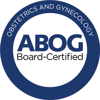 Dr. Mary Lynn Coble ABOG Board Certified Obstetrics and Gynecology Badge Blue Circular
