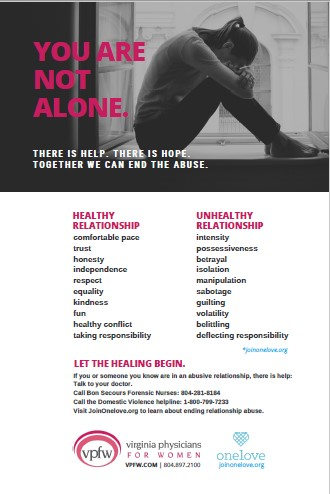 "a poster with a female head in knees, words ""you are not alone"" and signs of healthy and unhealthy reltionships"