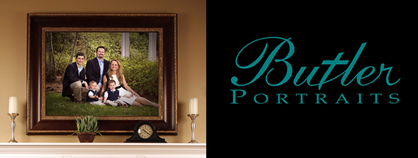 Butler portraits family portrait on mantle and logo