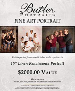 Butler Portraits Fine Art Portraits flyer showing family portraits and $2,000 value